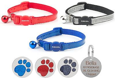 ANCOL Cat Collar Reflective Gloss Quick Release & Free Engraved 25mm Paw ID Tag