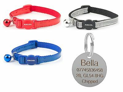 ANCOL Cat Collar Reflective Gloss, Quick Release, Engraved Nickel ID Tag & P&P