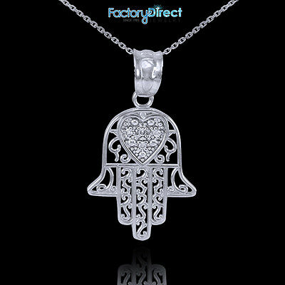 14k White Gold Diamond Filigree Hamsa Pendant Necklace