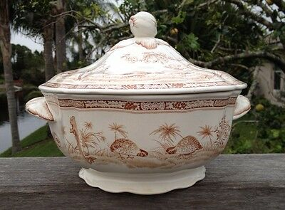 """RARE - Furnivals QUAIL-BROWN Round Covered Tureen Scalloped Base 12""""w  8.5"""" h"""