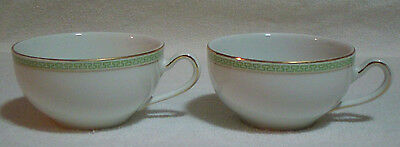 Lot of 2 H & Co Selb Bavaria Green Gold Greek Key Tea Coffee Cups Heinrich