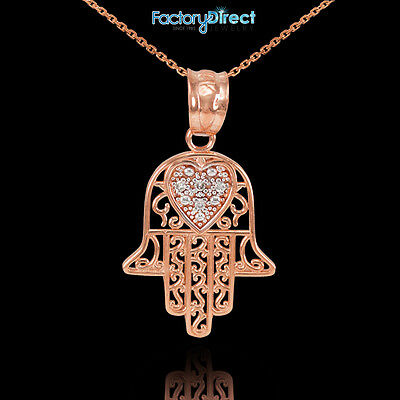 14k Rose Gold Diamond Filigree Hamsa Pendant Necklace