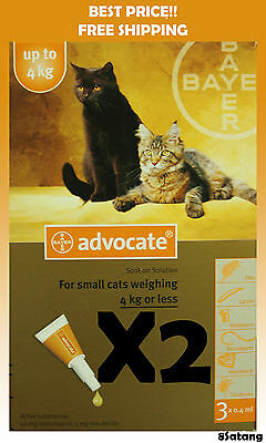 Advocate For Cats Up To 4kg Small Cats 6 Pack Flea and Lice Treatment exp 2020