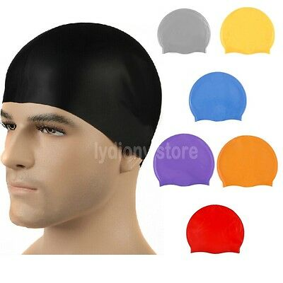 Silicone Water Proof Swimming Cap Adults Children Bath Shower  Hat Multi-color