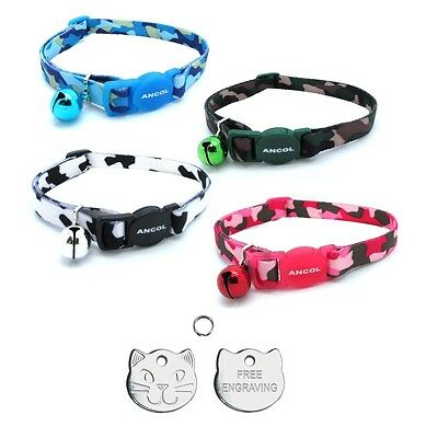 ANCOL Cat Collar Camouflage, Quick Release With Free Engraved Cat ID Tag & P&P