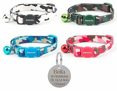 ANCOL Cat Collar Camouflage, Quick Release, Free Engraved Nickel ID Tag & P&P