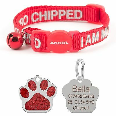 ANCOL Cat Collar Alert Microchip, Quick Release, Free Engraved Paw ID Tag & P&P