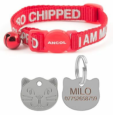 ANCOL Cat Collar Alert Microchip, Quick Release, Free Engraved Cat ID Tag & P&P