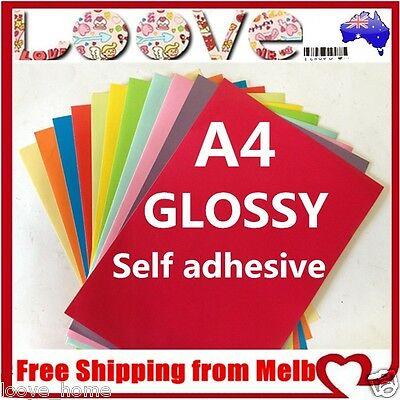 100x A4 Colour Glossy Self Adhesive Sticker Paper Sheet Label Laser Print Office