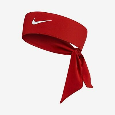 New Womens Nike Head Tie Dri Fit 2.0 Red Headband Tennis Running