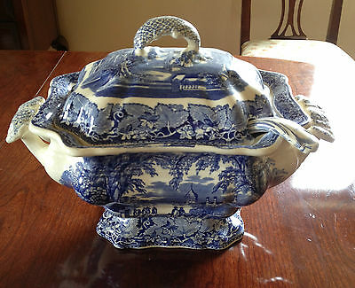 ANTIQUE MASONS VISTA BLUE & WHITE TUREEN & LADLE  ** REDUCED TO SELL **