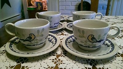 Franciscan Love Birds Stoneware Cups, Saucers