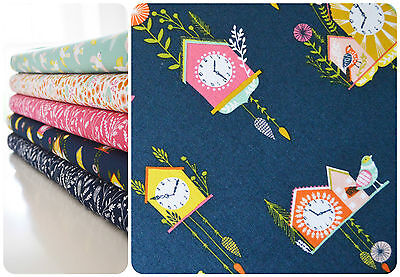 Dashwood Studio Cuckoos Calling Fabric Clocks Navy Blue Birds Houses Quilting
