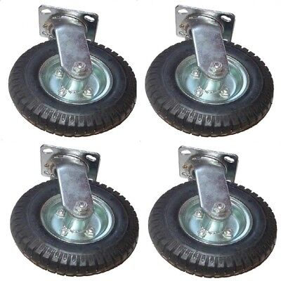(4) 8in Air Tire Swivel Base Casters Heavy Duty Pneumatic New FREE SHIPPING