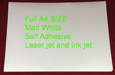 30 SHEETS A4 Matt Printable White Self Adhesive Sticker Paper Ink and Laser Jet