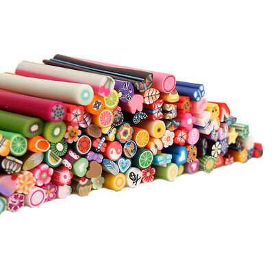 100Pcs 3D Nail Art Fimo Canes Stick Rods Polymer Clay Stickers Tips Decoration