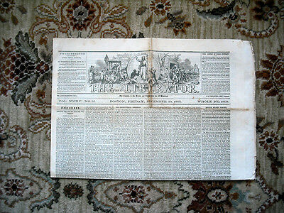 1865 LIBERATOR ANTI-SLAVERY ABOLITIONIST Newspaper w/ UNPUBLISHED LINCOLN TEXT