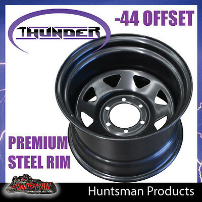 16x10 6 Stud Black Thunder Steel Wheel Rim -44 Offset. 6/139.7suit Toyota patrol