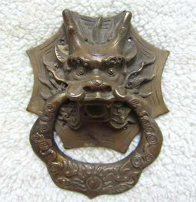 Chinese bronze door knocker Dragon head ward off evil old collectibles
