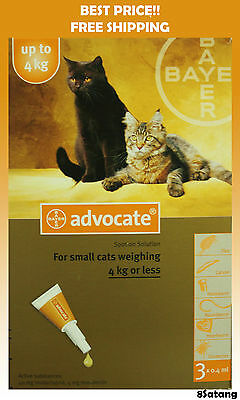 Advocate For Cats Up To 4kg Small Cats 3 Pack Flea and Lice Treatment exp 2018