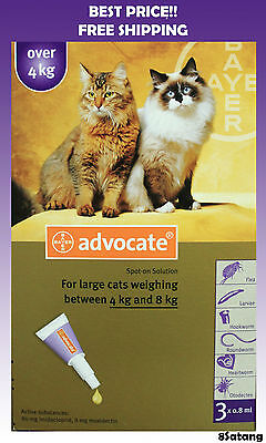 Advocate For Cats 4-8kg Large Cats 3 Pack Flea and Lice Treatment exp 2018
