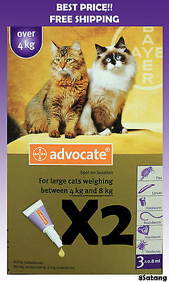 Advocate For Cats 4-8kg Large Cats 6 Pack Flea and Lice Treatment exp 2019