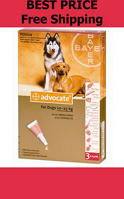 Advocate For Dogs 10-25kg Large Dogs 3 Pack Flea and Lice Treatment EXP 06/2019