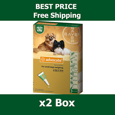 Advocate For Dogs Up To 4kg Small Dogs 6 Pack Flea and Lice Treatment exp 2019