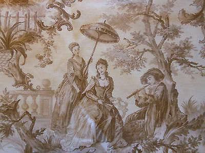 RSVD ~ Antique Vtg French Brown Pastoral Toile Fabric ~ courting couple sheep
