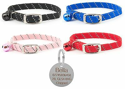 ANCOL Cat Collar Reflective Elasticated Softweave, With Engraved Nickel ID Tag