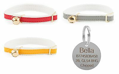ANCOL Cat Collar Reflective Elasticated Felt Backed, With Engraved Nickel ID Tag