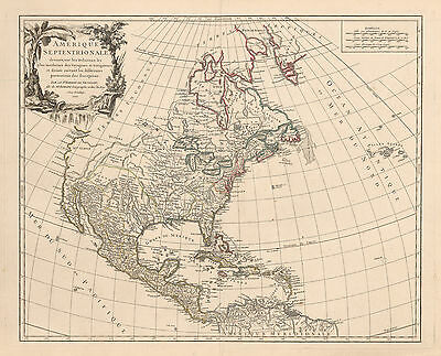 HJB-Antique Maps: North America By: Robet de Vaugondy Date: 1757 Paris