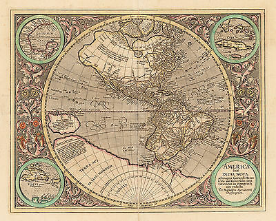 HJB-Antique Maps: Western Hemisphere By: Michael Mercator Date: 1613 Duisberg