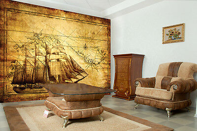 VINTAGE ANCIENT EXPLORER MAP GLOBE Photo Wallpaper Wall Mural  335x236cm