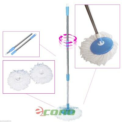 2 Microfiber Head Spinning Fast Cleaning w/ Pole Easy Roto 360° Spin Magic Mop