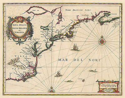 HJB-Antique Maps: Colonial, East Coast By: Jan Jansson Date: 1636 (p) Amsterdam