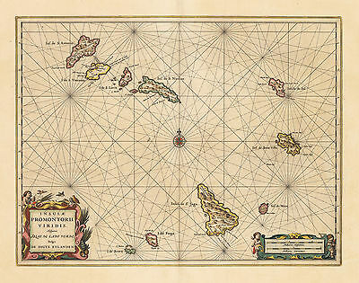 HJB-Antique Maps:  Cape Verde Islands off West Africa By: Jansson Date: 1650 (c)