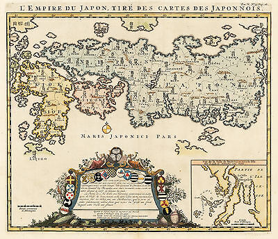 1719 Map of Japan By: Henri Chatelain
