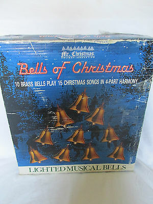 Mr. Christmas Vintage Lighted Musical 10 Brass Bells 1990 with Tree Hanger