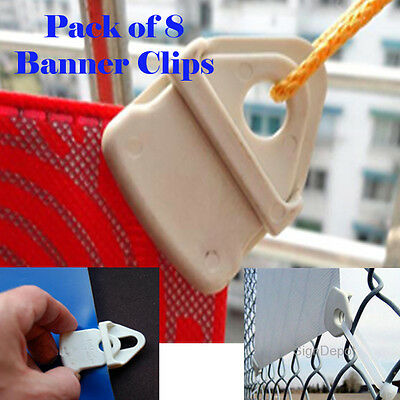 Pack of 8 Reusable Banner / Flag  Clip No Grommet, Durable Trade Show Sign Tarp