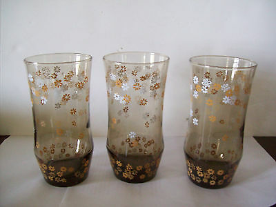 3 Vintage Libbey STRAWFLOWERS TAWNY YELLOW Daisies brown glass tumblers