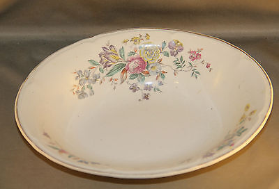 VINTAGE EDWIN M. KNOWLES CHINA CO. SEMI- VITREOUS OVAL BOWL FLORAL DESIGN.