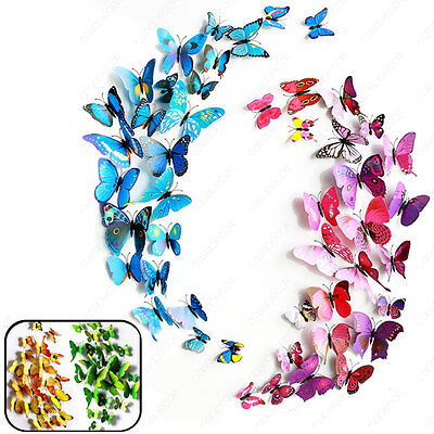 12pcs 3D Art Butterfly Decal Wall Sticker Home Decor Room Decoration 4 Color