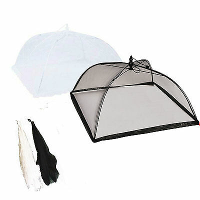 NEW Black or White Pop-Up Mesh Screen Food Cover Umbrella Tents 43 cm