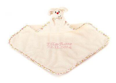 Personalised Embroidered Baby Comforter Comfort Blanket ELC Blossom Farm Gift