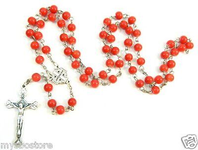 NEW Red Cherry Painted Glass Beads Holy Pray Rosary Pewter Crucifix Cross RS83