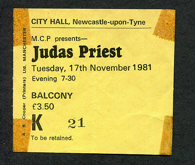Original 1981 Judas Priest Concert Ticket Stub Newcastle UK Breaking The Law