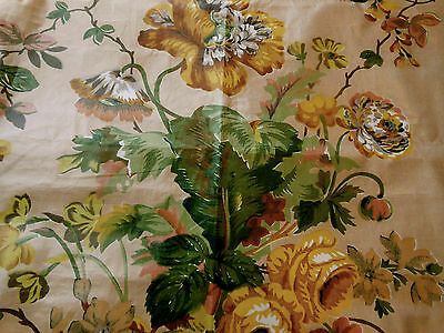 Antique 1850 French English Poppy Roses Chintz Fabric~Mustard Brown Green Blush
