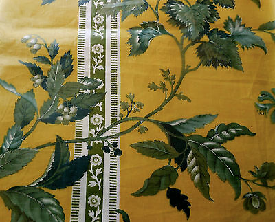 Antique 1850 French or English  Floral Chintz Fabric~ Mustard Blue Gray Olive