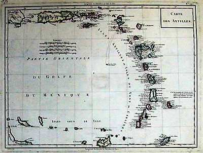 Antique map, Carte des Antilles